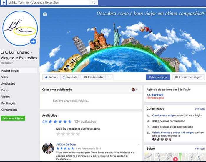 Página da Lielu Turismo no FaceBook